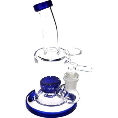 Mini Travel Glass Bong Barrel Percolator Water Pipe - Unbranded - Blue