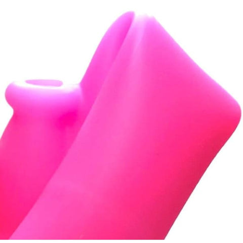 Image of Pink Silicone Bong Unbreakable Water Pipe Straight Tube - Unbranded