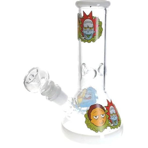 Image of Rick Morty Thick Glass Beaker Bong Water Pipe - Unbranded