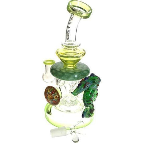 Sick Glass Bong Water Pipe w/ Seahorse Pendants - Tattoo