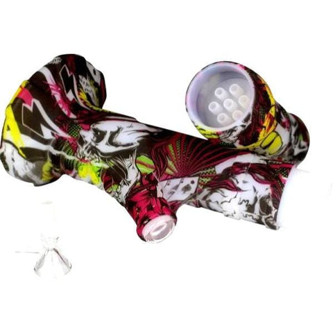Silicone Bong Detachable Unbreakable Water Pipe w/ Ice Pinch - Unbranded