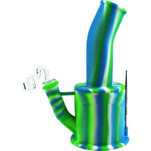 Silicone Bong Detachable Unbreakable Water Pipe w/Ice Pinch (Tie-Dye) - Unbranded - Green Blue / Quartz Banger - Dab Rig