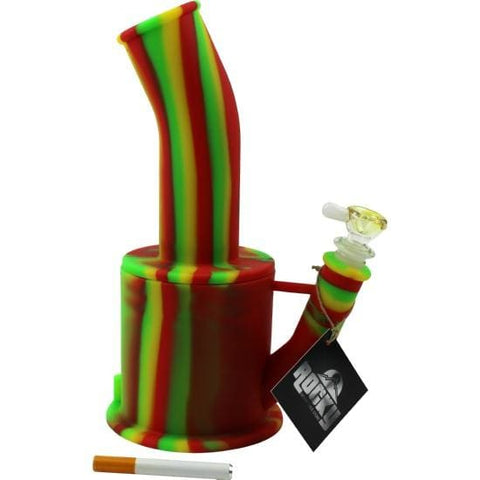 Silicone Bong Detachable Unbreakable Water Pipe w/Ice Pinch (Tie-Dye) - Unbranded - Rasta / Quartz Banger - Dab Rig