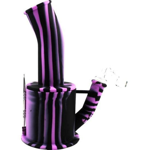 Silicone Bong Detachable Unbreakable Water Pipe w/Ice Pinch (Tie-Dye) - Unbranded - Purple Black / Quartz Banger - Dab Rig