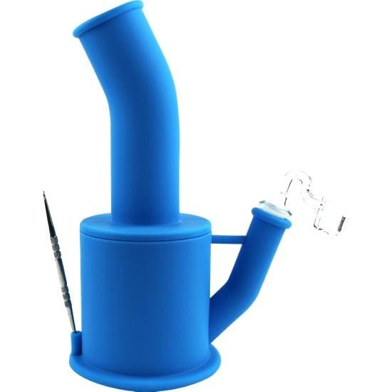 Silicone Dab Rig Detachable Unbreakable Water Pipe Ice Pinch - Unbranded - Blue