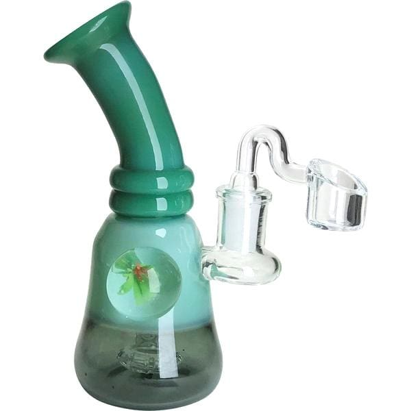Thick Glass Dab Rig Smoking Water Pipe w/ Pendant - Unbranded - Gray/Green