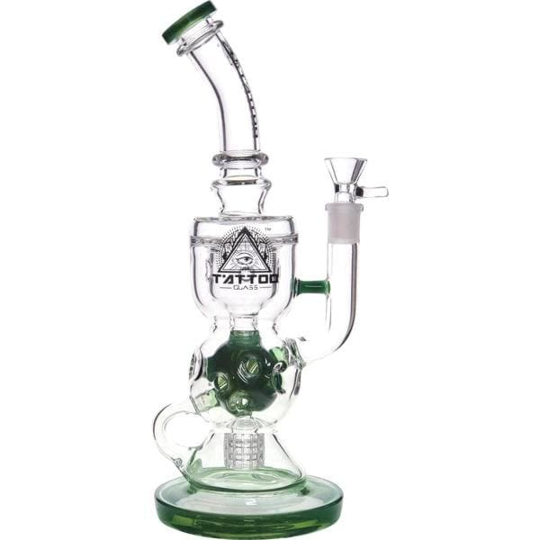 Thick Tattoo Glass Bong Water Pipe Swiss and Matrix Percolators