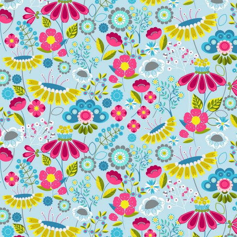 Meadow Floral Design 100% Cotton Fabric