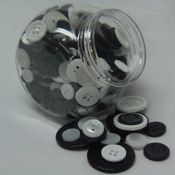 Jar of Mixed Size Black & White Buttons