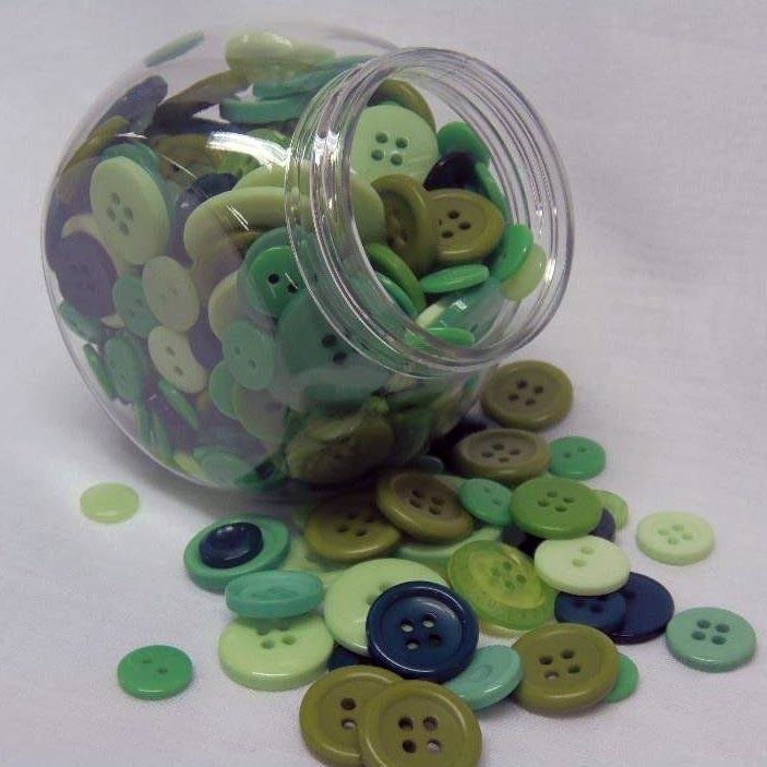 Jar of Mixed Size Green Buttons