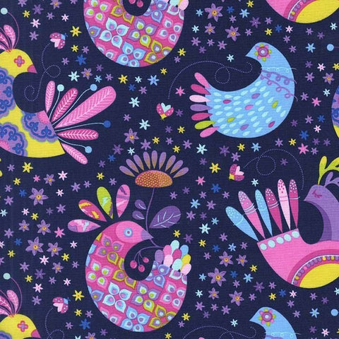 Michael Miller Navy Feathered Flock 100% Cotton Fabric x 0.5 Metre