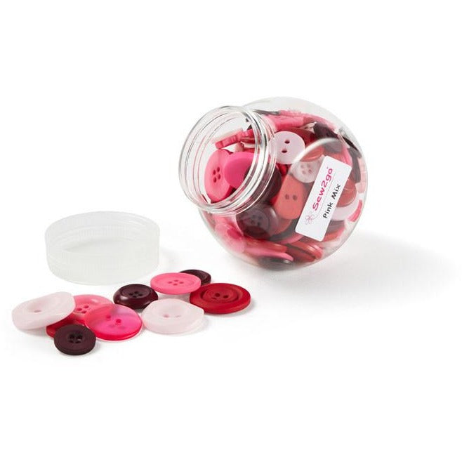Jar of Mixed Size Pink Buttons