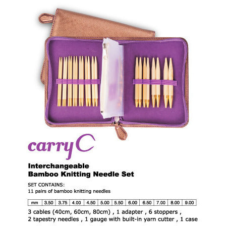 Tulip CarryC Interchangeable Bamboo Knitting Needle Set