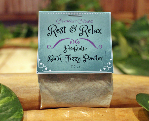 Rest & Relax Bath Fizzy Powder, Probiotic, Medicinal and Organic- Natural Colorants 2.5 oz - Clearwater Cultures