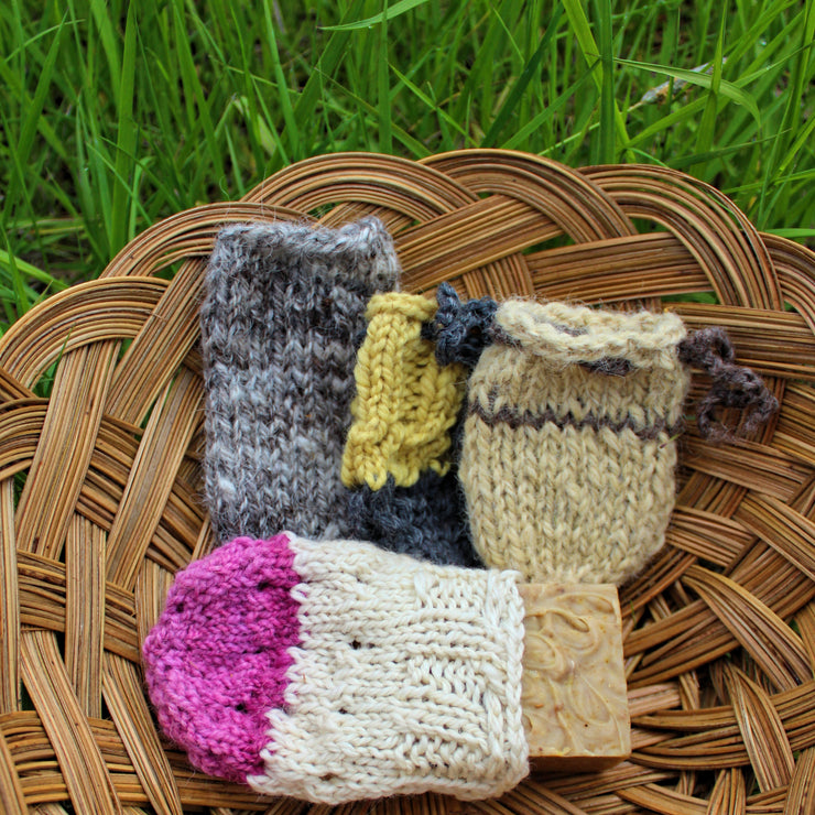 Bath Soap Sock Scrubbies - Natural Dyes & Fibers - Varies sizes - Clearwater Cultures
