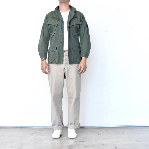 Vintage Vietnam 3rd pattern tropical jungle jacket Olive Green Military Field Jacket w/ Four Pockets