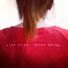 Mind Body Soul Spine Red Shirt Detail