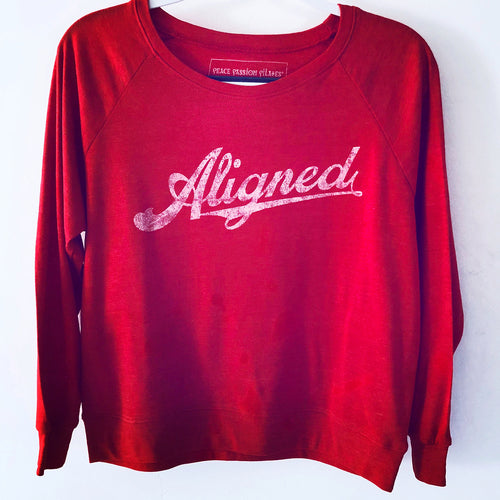 Red Long-Sleeved Aligned Pilates Yoga Barre Shirt Top