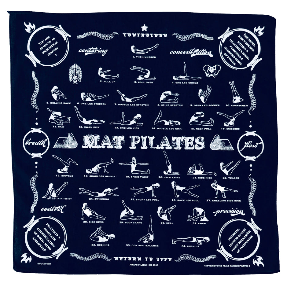 Mat Pilates Exercises on Blue Cotton Bandana Pilates Gift