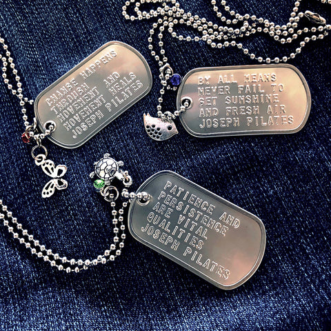 Top Joseph Pilates quotes jewelry dogtags for Pilates gifts