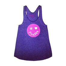 Unusual Pilates Tank Top in Purple with Happy Face Design
