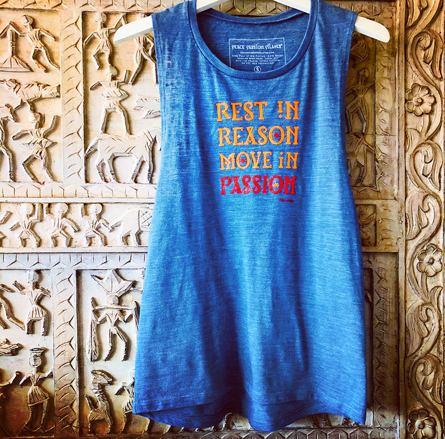 Pilates Yoga Barre Tank in denim blue with Move in Passion quote from Khalil Gibran