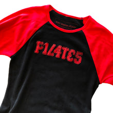Pilates long-sleeved cotton baseball style shirt in black with red sleeves