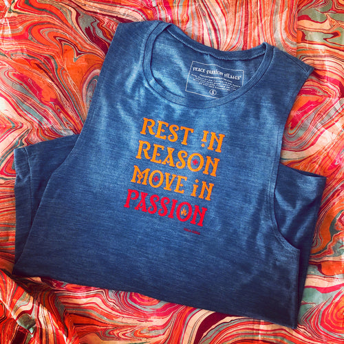 Beautiful Yoga Pilates Barre Tank with Khalil Gibran Quote Rest in Reason Move in Passion