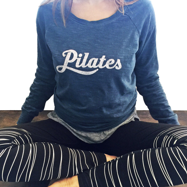 Pilates sweatshirt in blue with cute Pilates leggings
