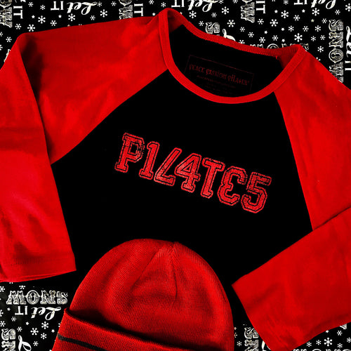 Red and Black Pilates Baseball Style Shirt