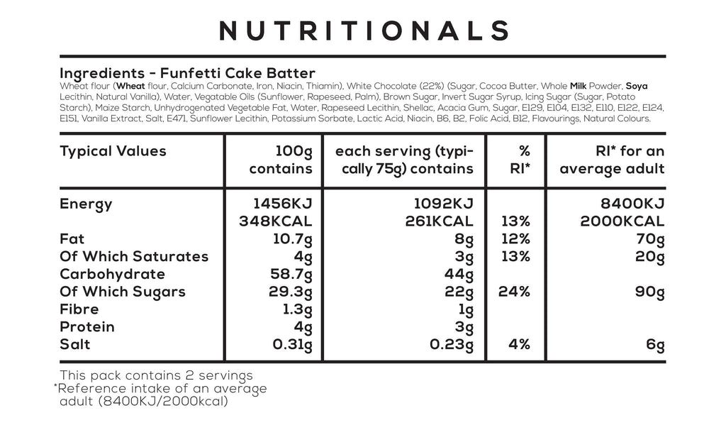 Funfetti Cake Batter Nutritionals