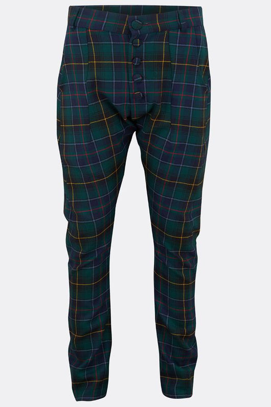 Apache trousers in dark green tartan, front view, by A Child of the Jago