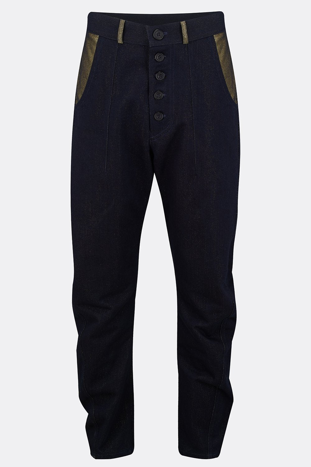 APACHE TROUSERS IN DENIM W/ GOLD LUREX-menswear-A Child Of The Jago