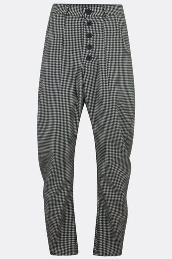 APACHE TROUSERS IN SMALL BLACK AND WHITE CHECK-menswear-A Child Of The Jago