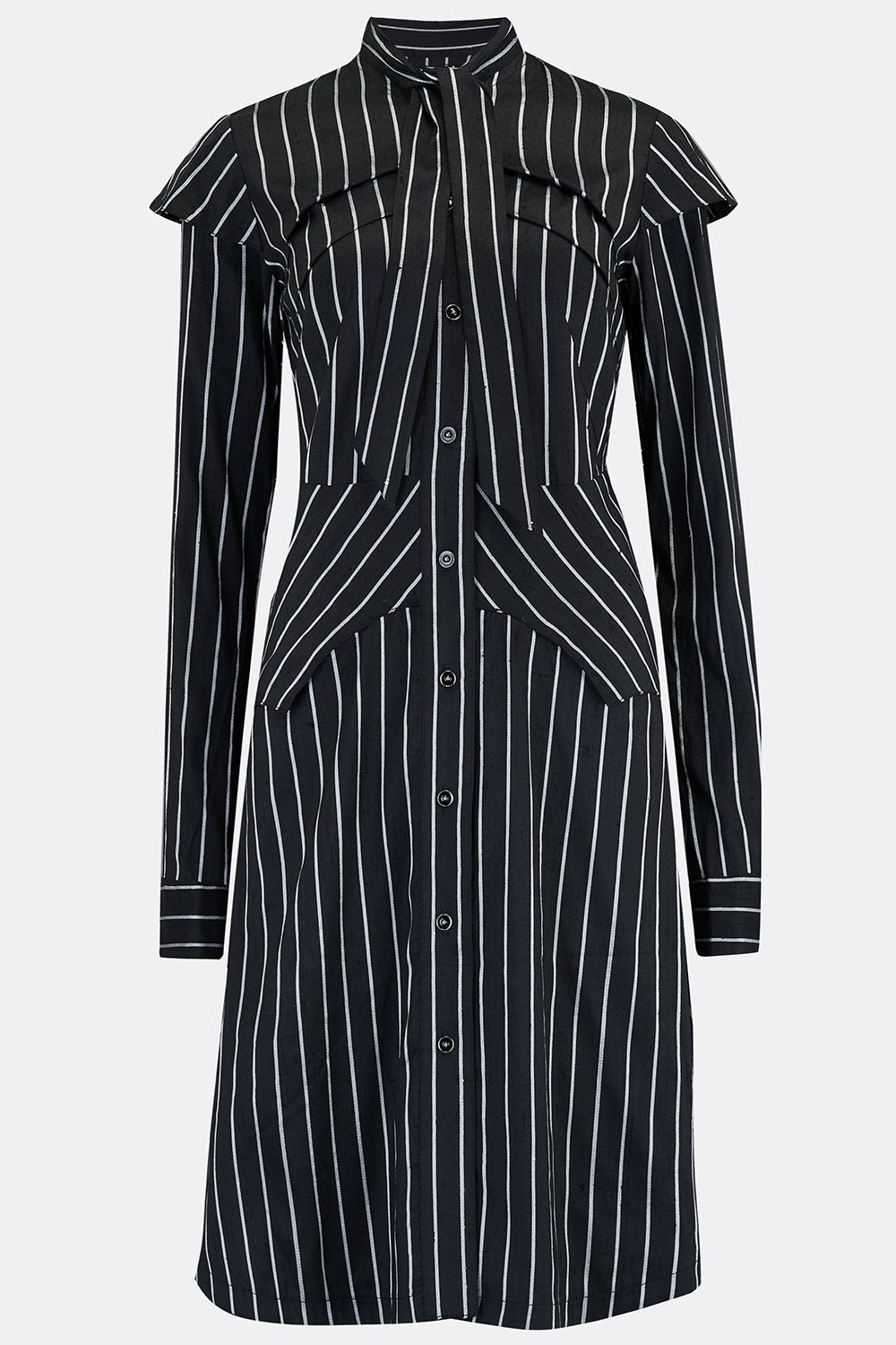 ARMOUR DRESS IN BLACK SILVER STRIPE SILK-womenswear-A Child Of The Jago
