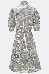 Bessie dress in a grey and cream boundary map print, back view, by A Child of the Jago