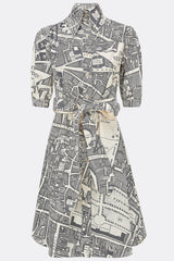 Bessie dress in a grey and cream boundary map print, front view, by A Child of the Jago