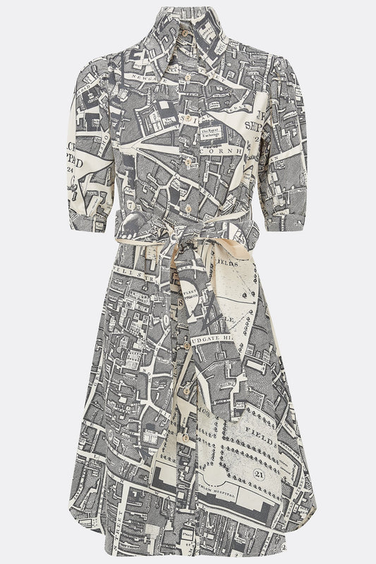 BESSIE DRESS IN CHARCOAL BOUNDARY-womenswear-A Child Of The Jago