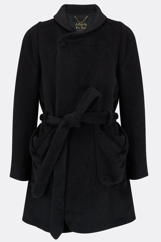 A mid length bob trotter coat in black alpaca, front view, by A Child of the Jago