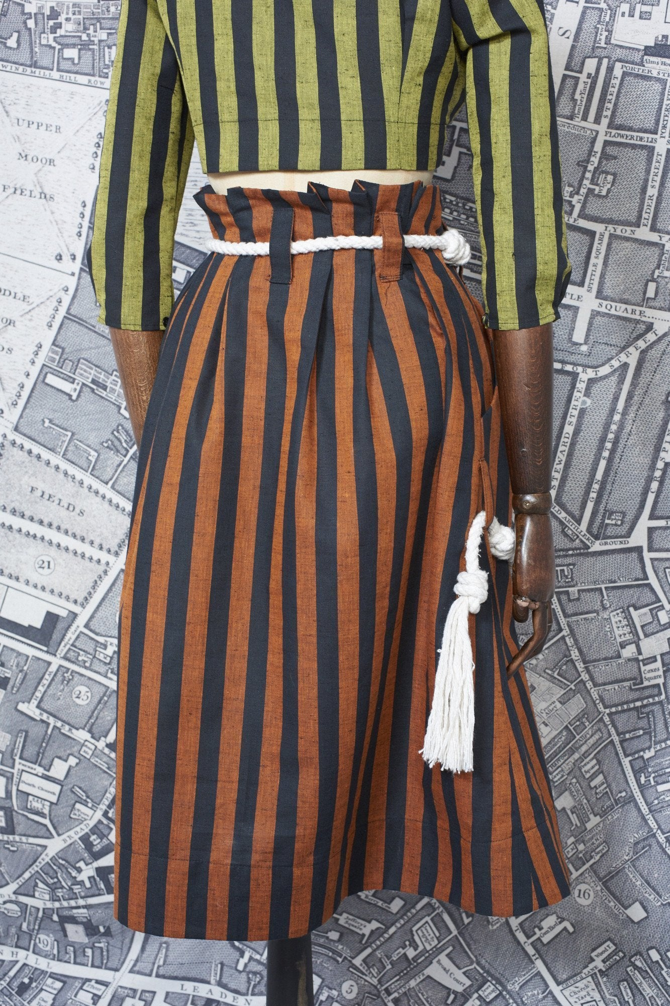 BONNY SKIRT IN BURNT ORANGE AND BLACK STRIPE-womenswear-A Child Of The Jago