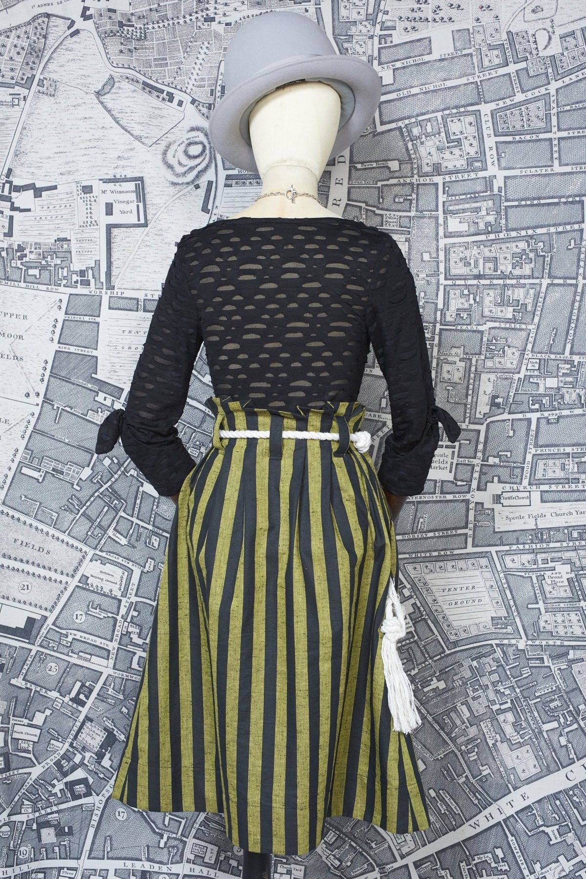 BONNY SKIRT IN YELLOW AND BLACK STRIPE-womenswear-A Child Of The Jago
