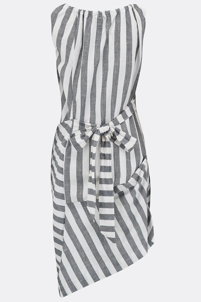 BONNY SWAG DRESS IN WHITE AND GREY STRIPE-womenswear-A Child Of The Jago
