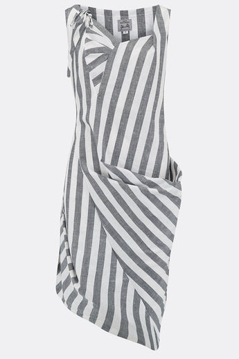 150389dd6 BONNY SWAG DRESS IN WHITE AND GREY STRIPE-womenswear-A Child Of The Jago