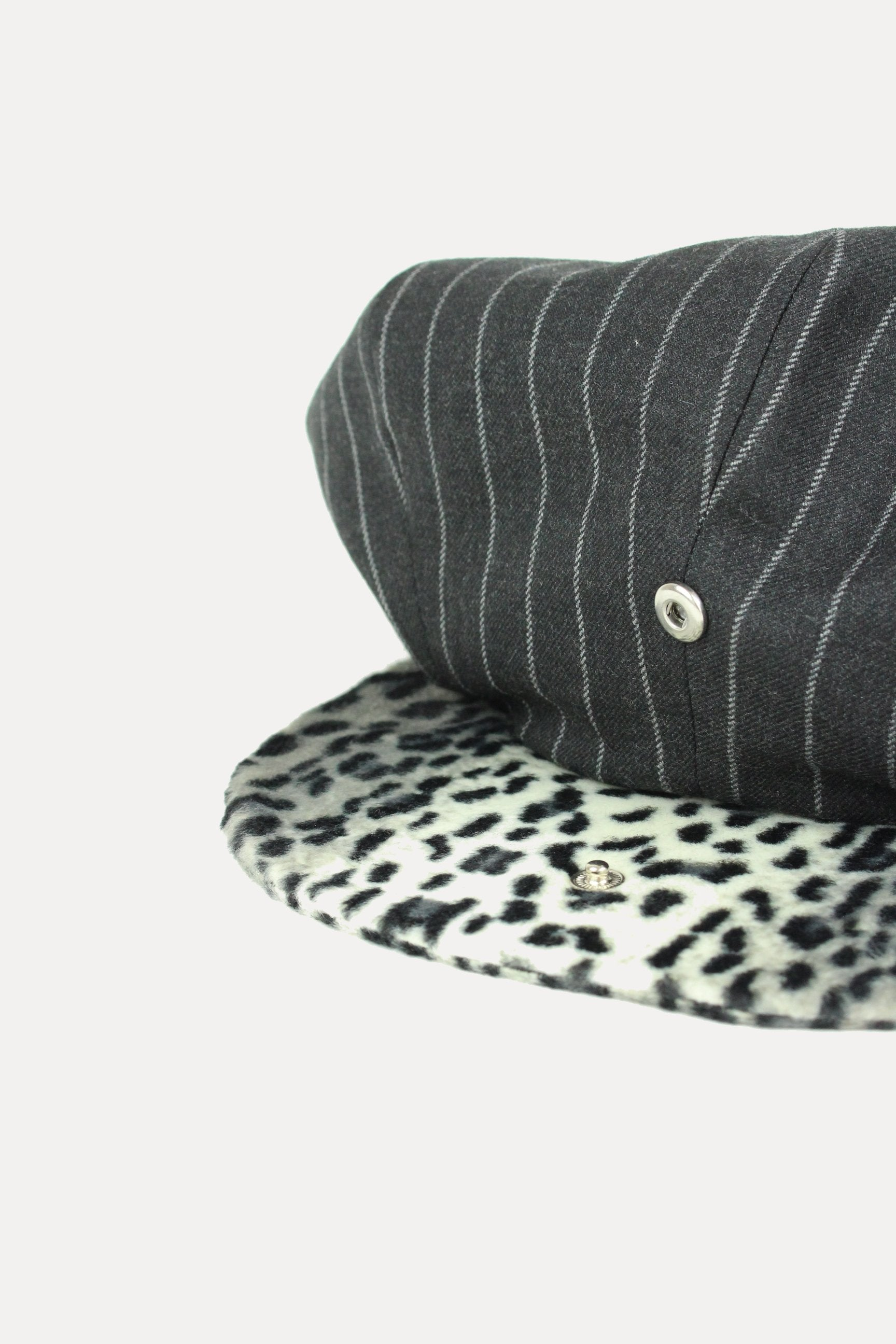 CLYDE - GREY STRIPE W/ LEOPARD (made to order)-hats-A Child Of The Jago