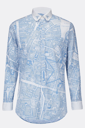 A classic cotton shirt in a blue boundary map print with a white collar and cuffs, front view, by A Child Of The Jago