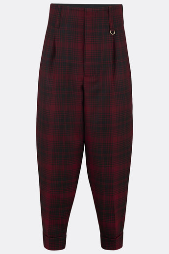 DILLINGER TROUSERS IN RED AND BLACK CHECK-menswear-A Child Of The Jago