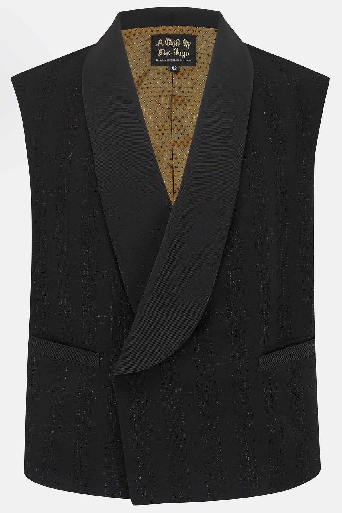 DILLINGER WAISTCOAT IN BLACK WOOL-menswear-A Child Of The Jago
