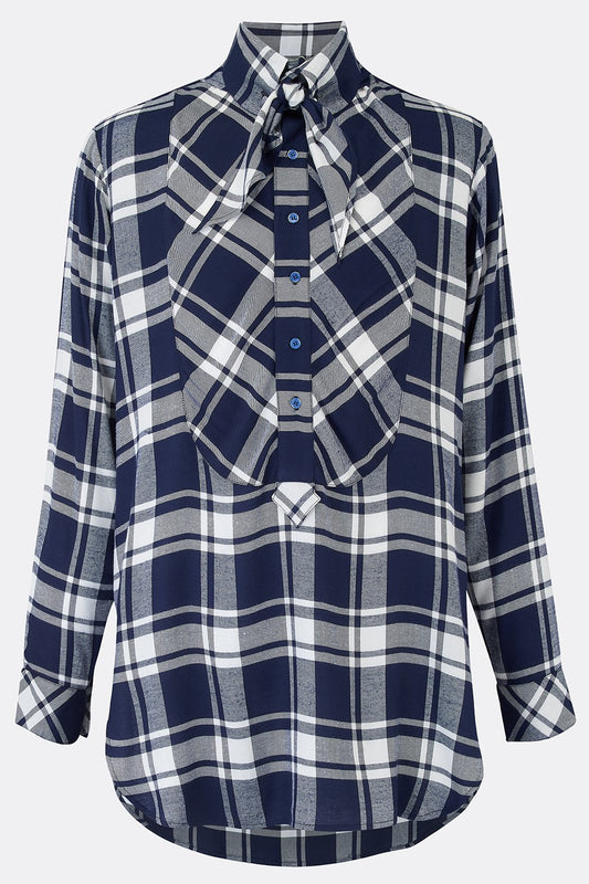 DRESS SHIRT IN NAVY CHECK-menswear-A Child Of The Jago