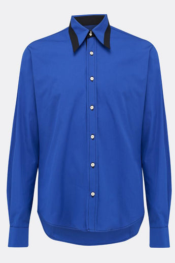 A cotton royal blue shirt with an additional black contrast detailing on collar, front vure, by-A Child Of The Jago