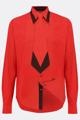 A cotton red shirt with an additional black contrast detailing on collar, back view, by-A Child Of The Jago